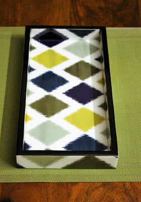 Ikat Patterned Decorative Tray - Platters - SharePyar