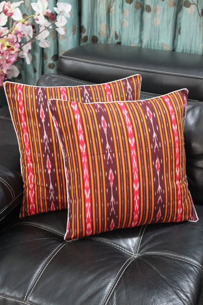 SharePyar Ikat Sambalpuri Cushion Cover, Brown - 16 x 16 Inch - Set of Two - SharePyar - 2