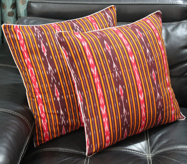 SharePyar Ikat Sambalpuri Cushion Cover, Brown - 16 x 16 Inch - Set of Two - SharePyar - 3