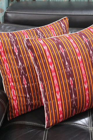SharePyar Ikat Sambalpuri Cushion Cover, Brown - 16 x 16 Inch - Set of Two - SharePyar