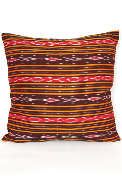 SharePyar Ikat Sambalpuri Cushion Cover, Brown - 16 x 16 Inch - Set of Two - SharePyar - 4