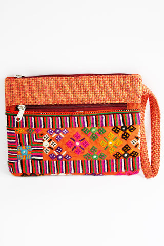 Jute Embroidered Multicolored Clutch with Mirror Work - SharePyar - 1