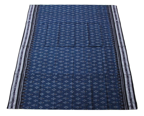 Katki Sambalpuri Khandua Cotton Saree, Hand Woven, Dark Blue/Black - SharePyar - 1
