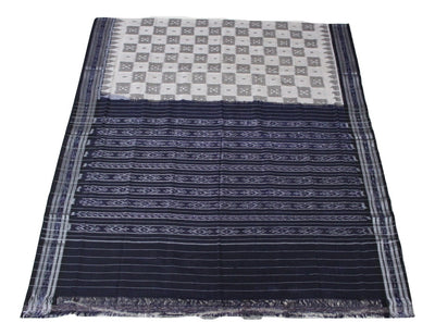 Katki Sambalpuri Khandua Cotton Saree Hand Woven, Grey/Black - SharePyar - 1