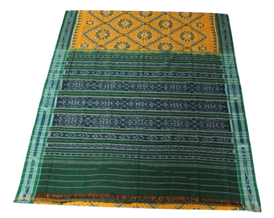 Katki Sambalpuri Khandua Cotton साड़ी,  Hand Woven,  Yellow/Green - Sarees - SharePyar