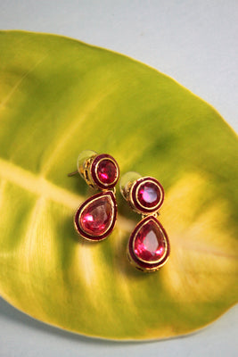 Kundan Dangle Earrings in Magenta - SharePyar - 1