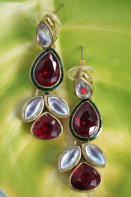 Kundan Fashion Earrings, Red and White - Jewellery - SharePyar