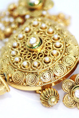 Gold Plated Kundan Necklace Set - Jewellery - SharePyar