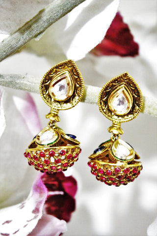 Kundan Stone Studded Kundal Earrings - SharePyar - 1