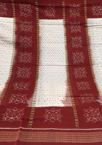 Layered Design Bandha Sambalpuri IKAT Cotton Saree - SharePyar - 1