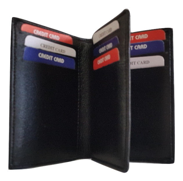 Lee Italian Genuin Leather 12 Vertical Pocket Card Holder, Black - Wallets - SharePyar