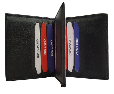 Lee Italian Genuin Leather 12 Horizontal Pocket Card Holder, Black - SharePyar - 1
