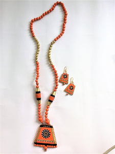 Long Terracotta Orange Necklace Set - Jewellery - SharePyar