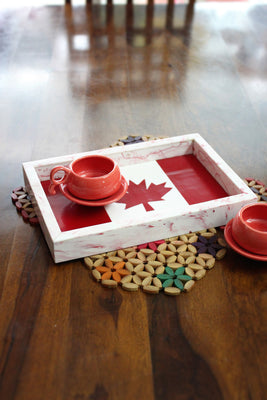 Mapple Leaf Resin Tray, Red - Platters - SharePyar