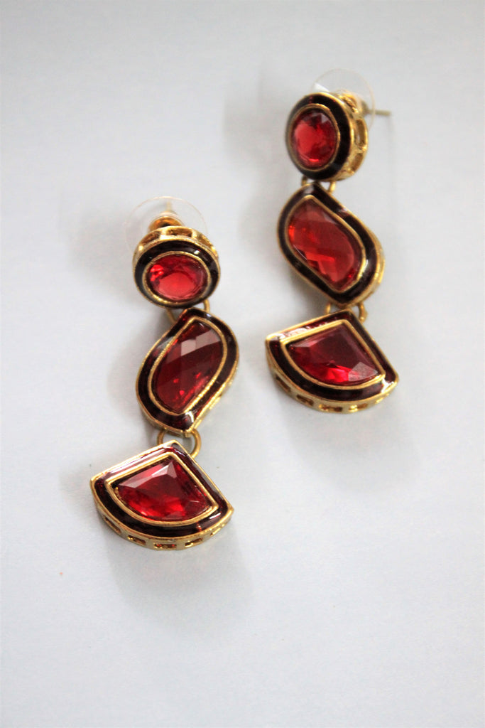Maroon Danglers Earrings - SharePyar - 1