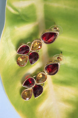 Maroon Yellow Kundan Dangle Earrings - SharePyar - 1