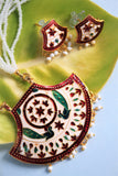 Meenakari Necklace Set, White - SharePyar - 2