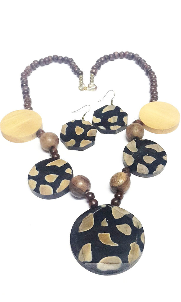 Modern Wooden Beaded Necklace Set - Jewellery - SharePyar