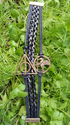 Multilayer Artificial Leather Hunger Games Mockingjay Harry Potter Deathly Hallows Bracelet, Black - Jewellery - SharePyar