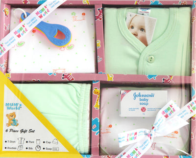Newborn Baby 6 Piece Gift Set for Baby Boys with Teether - Baby Gift Set - SharePyar