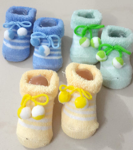 Newborn Baby Boys Booties, Set of 3 pairs - Blue, Yellow & Green - SharePyar - 1