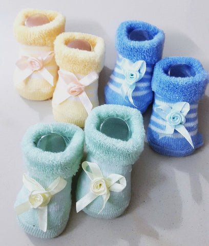 Newborn Baby Boys Booties, Set of 3 pairs - Blue, Yellow & Turquoise - SharePyar - 1