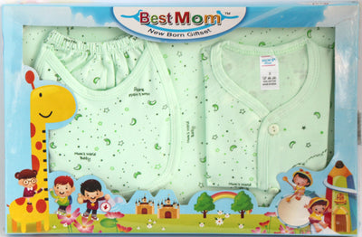 Best Mom New Born Giftset Boys, 4 Pieces - Shirt, Pant, Bib & Towel - Baby Gift Set - SharePyar