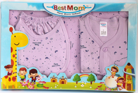 Best Mom New Born Giftset Girls, 4 Pieces - Shirt, Pant, Bib & Towel - SharePyar - 1