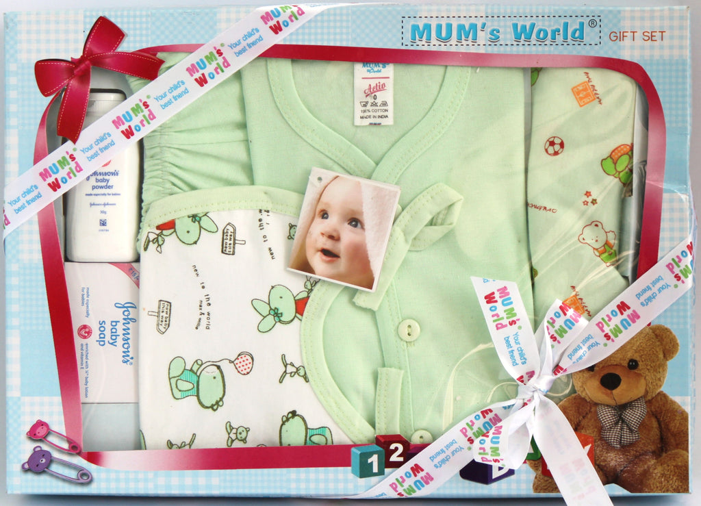 Newborn Baby Gift Set, Baby Boy, 6 Piece Set, Green - SharePyar