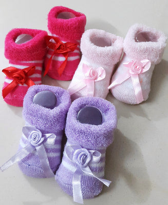 Newborn Baby Girls Booties, Set of 3 pairs - Dark Pink, Baby Pink & Lavender - Baby Shoes - SharePyar