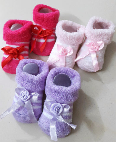 Newborn Baby Girls Booties, Set of 3 pairs - Dark Pink, Baby Pink & Lavender - SharePyar - 1