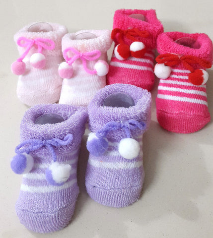 Newborn Baby Girls Booties, Set of 3 pairs - Dark Pink, Pink & Lavender - SharePyar - 1