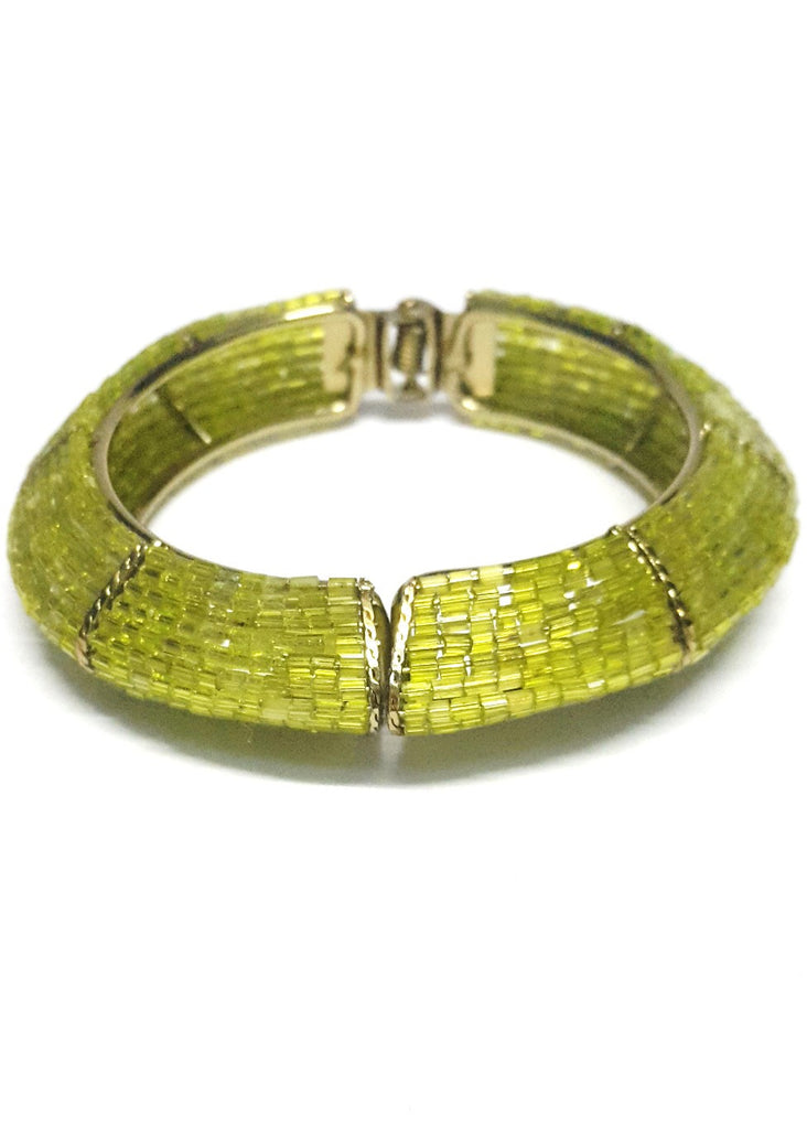 Olive Green Beaded Bracelet Kada - Jewellery - SharePyar