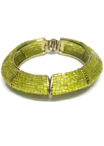 Olive Green Beaded Bracelet Kada - SharePyar - 1