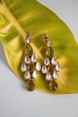 Olive Green Kundan Earrings - SharePyar - 1
