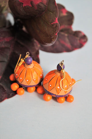 Orange Tradditional Terracotta Jhumka - SharePyar - 1