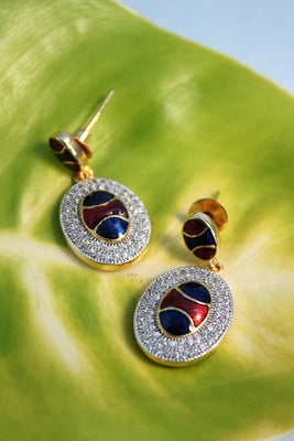 Oval Cubic Zirconia Earrings, Blue & Red - SharePyar - 1