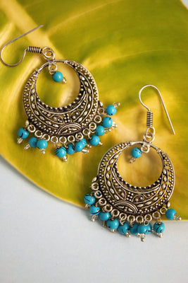 Oxidised Bali with Sky Blue Beads - SharePyar - 1