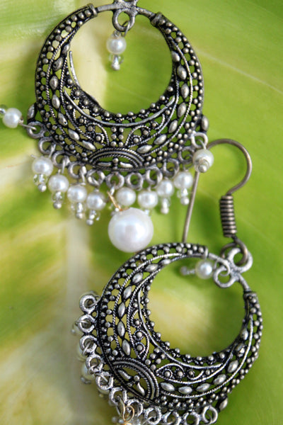 Oxidised Bali with White Beads - SharePyar - 2