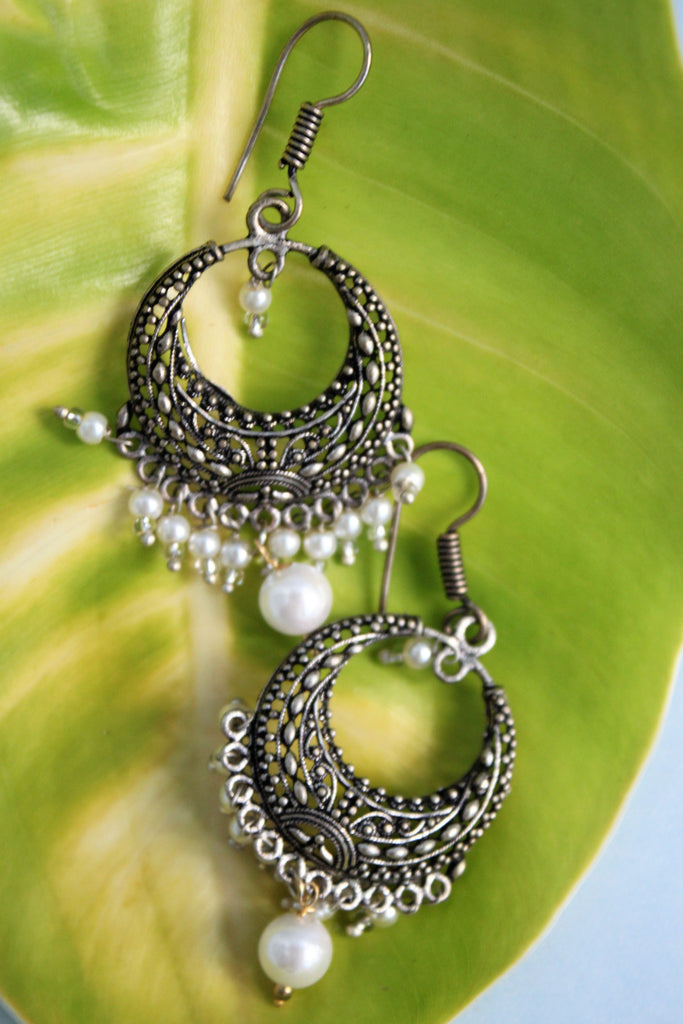 Oxidised Bali with White Beads - SharePyar - 1