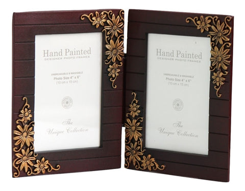 Double Folding Photo Frames 4x6 inch, Washable - Vine & Flower Pattern - SharePyar - 1