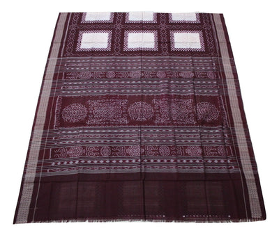 Pasapalli Sambalpuri Box Bandha  Cotton Saree, Hand Woven, Cream/ Maroon - Sarees - SharePyar