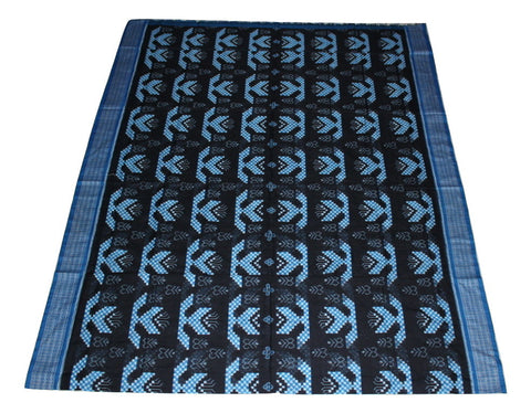 Pasapalli Sambalpuri Nauka Sapta Cotton Saree, Hand Woven, Black/ Blue - SharePyar - 1
