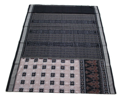 Pasapalli Sambalpuri  One Side  Skirt Cotton Saree, Hand Woven, Light Onion/ Black - SharePyar - 1