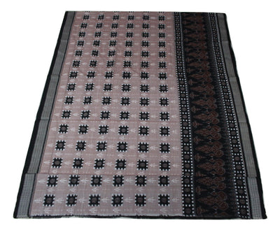 Pasapalli Sambalpuri  One Side  Skirt Cotton Saree, Hand Woven, Light Onion/ Black - Sarees - SharePyar