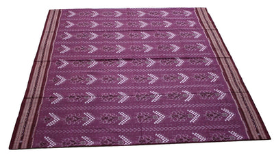 Pasapalli Sambalpuri Temple Sapta  Cotton Saree, Hand Woven, Dark Onion/Maroon - Sarees - SharePyar