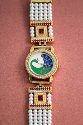 Peacock Dial American Diamond Bracelet Watch - Jewellery - SharePyar