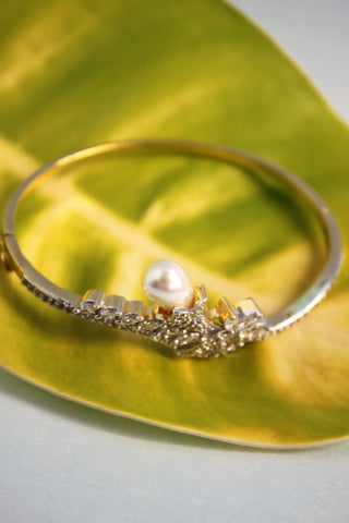 Pearl CZ Bangle Bracelet, White - SharePyar - 1
