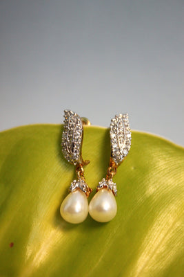 Pearl Cubic Zirconia Earrings - SharePyar - 1