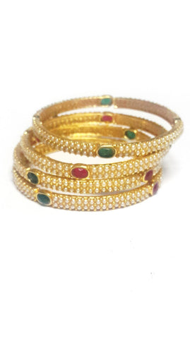 Pearl Polki Bangles - Set of 4 - SharePyar - 1